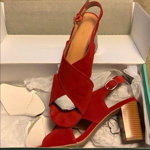 Red sling back shoes
